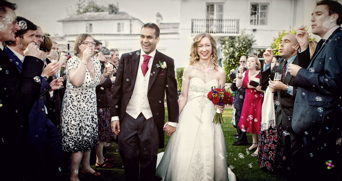 Bubbles confetti Dryham Park country club wedding